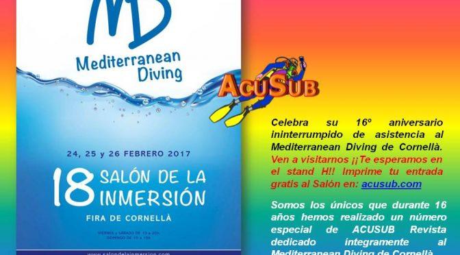 IMPRIME INVITACIÓN GRATIS PARA EL MEDITERRANEAN DIVING, XVIII SALÓN  DE LA INMERSIÓN DE CORNELLÀ (Barcelona)